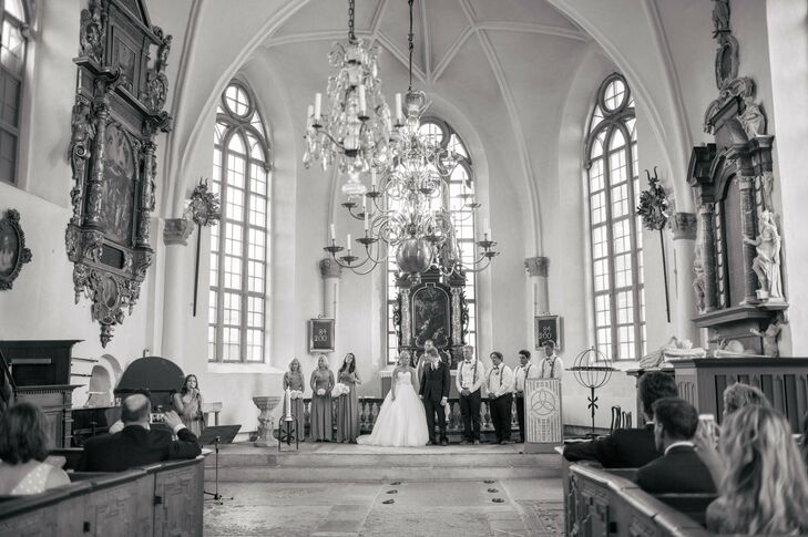 Stephanie and Ben were married in the beautiful, ornate Tyreso church, near Stephanie's family home.