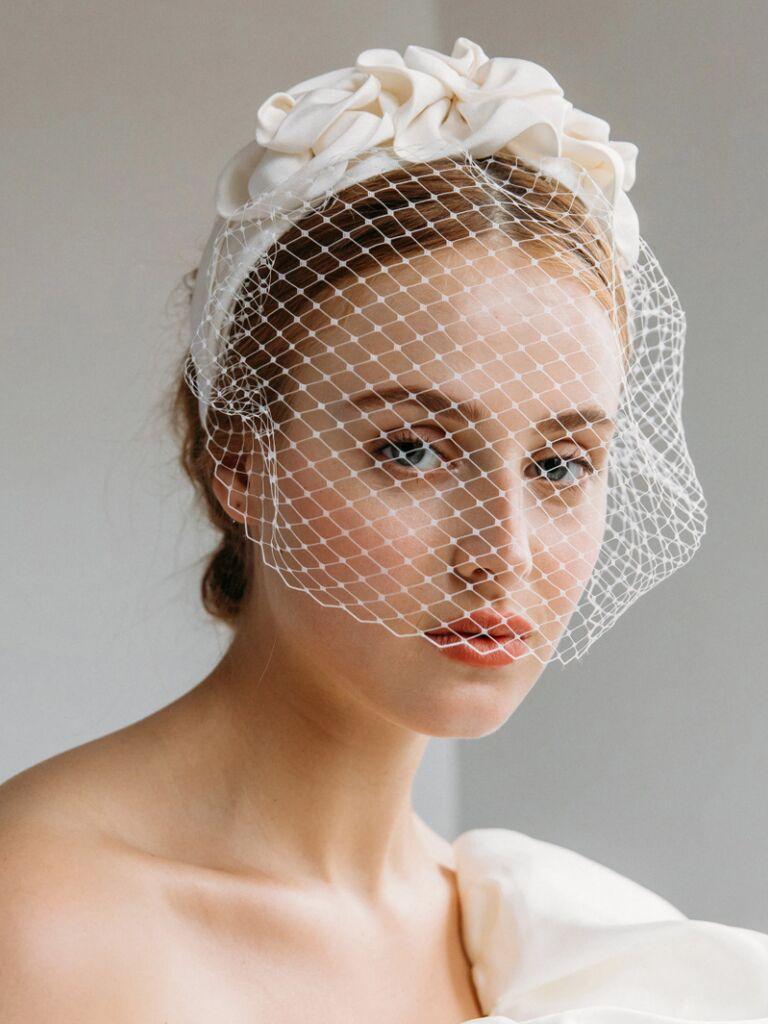 wedding hair piece headband with veil