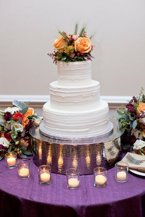 Buttercream Wedding Cake With Peach Roses