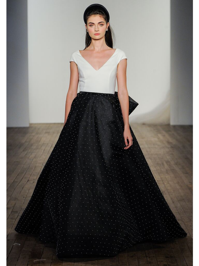 Balck and White Ball Gown Wedding Dress
