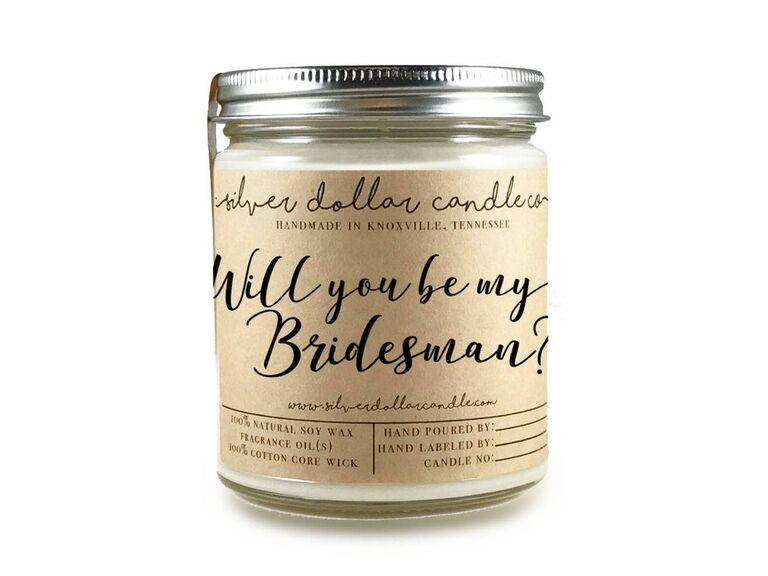 Bridesman proposal candle