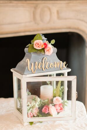 Whimsical Rose and Candle Filled Lantern