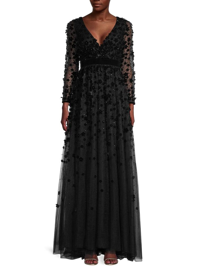 saks fifth avenue mac duggal black velvet wedding guest dress with mesh long sleeves floral embellishment pleated flowy skirt and v necline