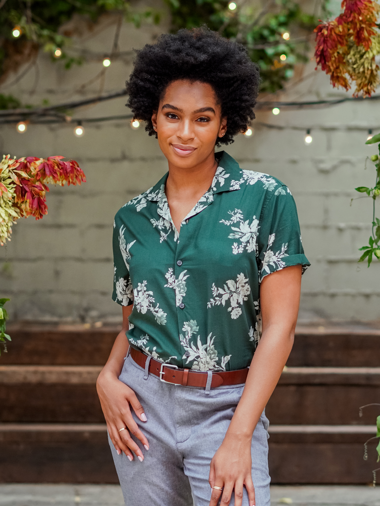 """Abercrombie x The Knot's """"Best Dressed Guest"""" Collection  green floral button up shirt"""