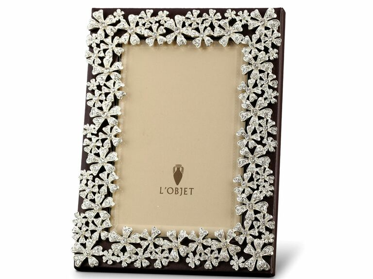 Black leather wedding picture frame with Swarovski crystals