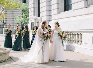 For their fall wedding at The Madison in Cleveland, Ohio, Trisha and Alex embraced a jewel-tone color palette comprised of rich shades of emerald, rub
