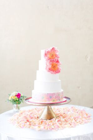 Coral and Pink Wedding Cake