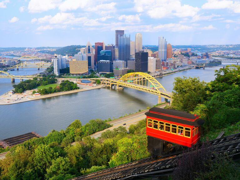 Red funicular trolley overlooking Pittsburgh