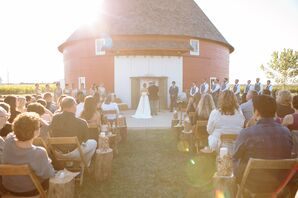 Bright Outdoor Ceremony in Front of Round Red Barn