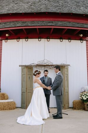 Personalized Vows in Front of Barn