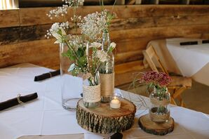 Rustic Floral and Candle Centerpieces