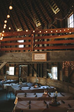 Round Barn Reception with String Lights