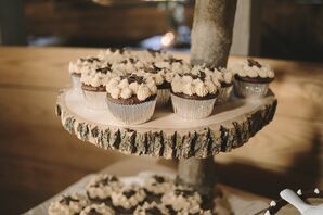 Black and White Cupcakes with Rustic Cupcake Holder