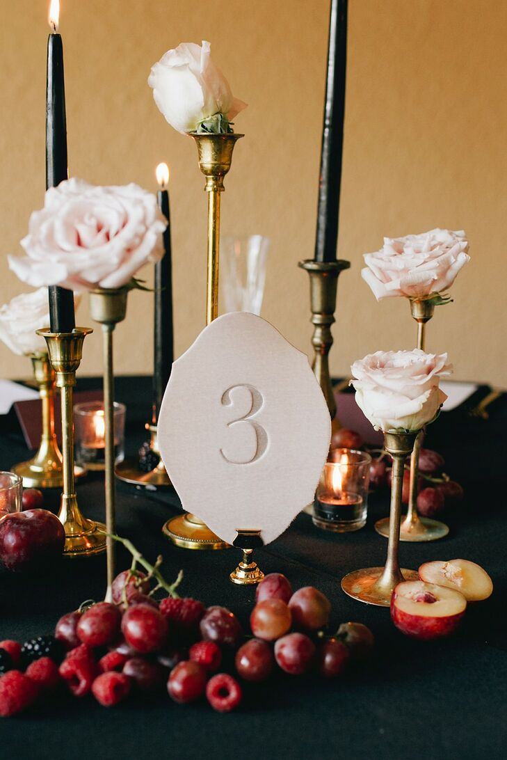 Tablescape with Black Taper Candles and Letterpress Printed Table Number