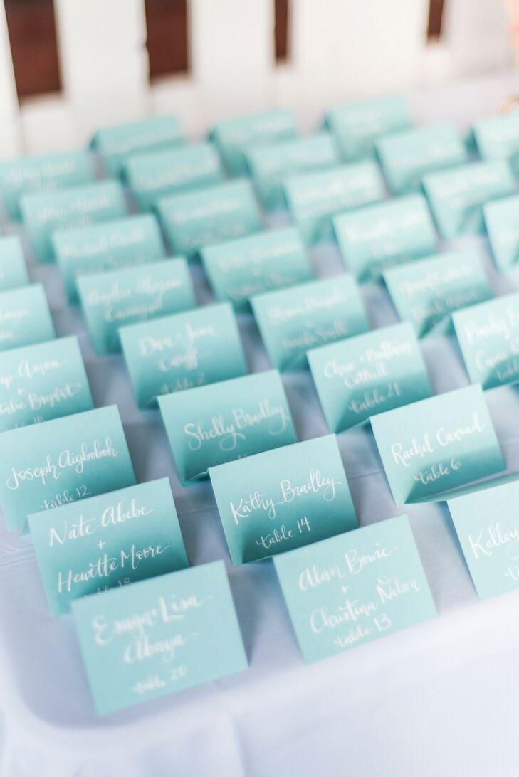 Light Blue Escort Cards for Connecticut Wedding