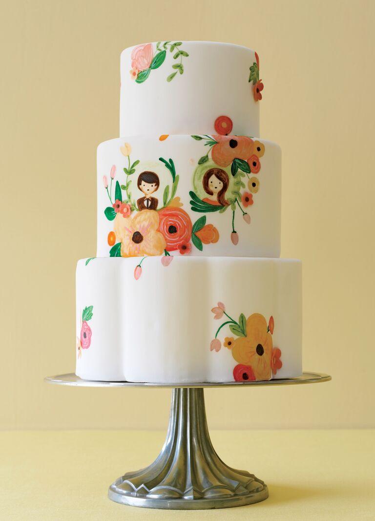 illustrated unique wedding cake