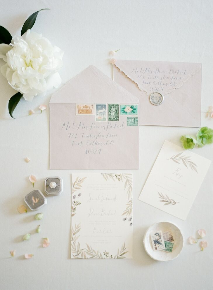 Romantic Invitations with Soft Colors and Calligraphy
