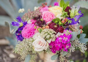 Pink and Purple Heart-Shaped Bouquet with Roses, Dahlias, and Irises.