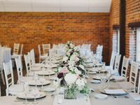Rose gold wedding table and chairs.