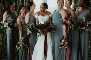 Bride and Wedding Party Carrying Bouquets With Maroon Ribbon