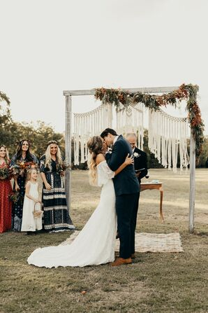 Bohemian Bride and Groom With Macrame Backdrop