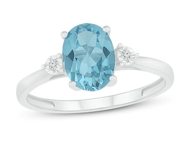 jared oval aquamarine engagement ring with diamonds and sterling silver band