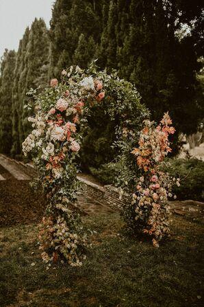 Lush Floral Arch for Wedding at Villa del Sol d'Oro in Sierra Madre, California