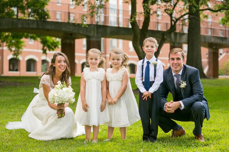 Couple with Flower Girls and Ring Bearer