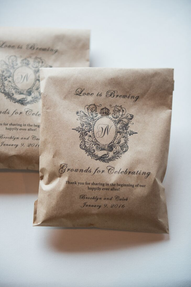 """In addition to featuring a full coffee bar of cappuccino, espresso, and lattes at the reception, the couple gave personalized bags of coffee to their guests. Each was printed with cute puns such as """"love is brewing"""" and """"grounds to celebrate."""""""