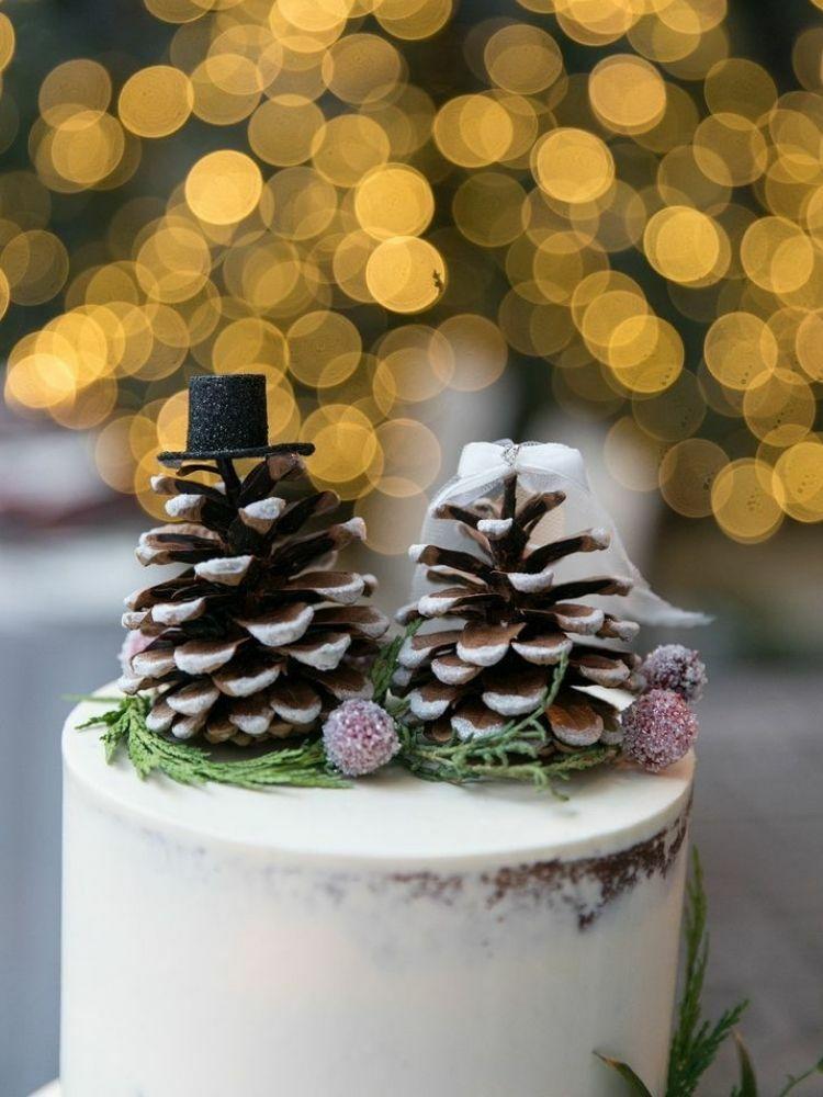 Pinecone wedding cake topper