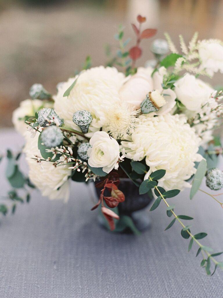 Wedding Centerpieces chrysanthemums and eucalyptus