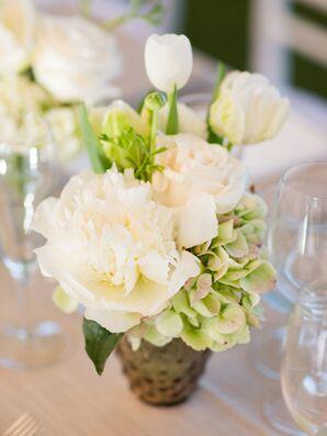 White Peony and Tulip Centerpieces