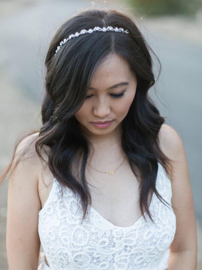 Silver and rhinestone bridal headband