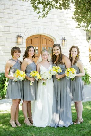 Gray Chiffon Bridesmaid Dresses