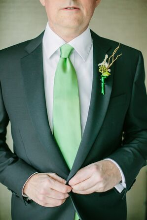 Green Tie and Curly Willow Boutonniere