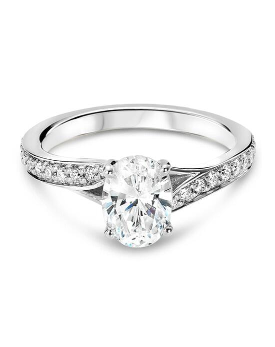 Ritani Modern Bypass Micropave Diamond Band Engagement Ring