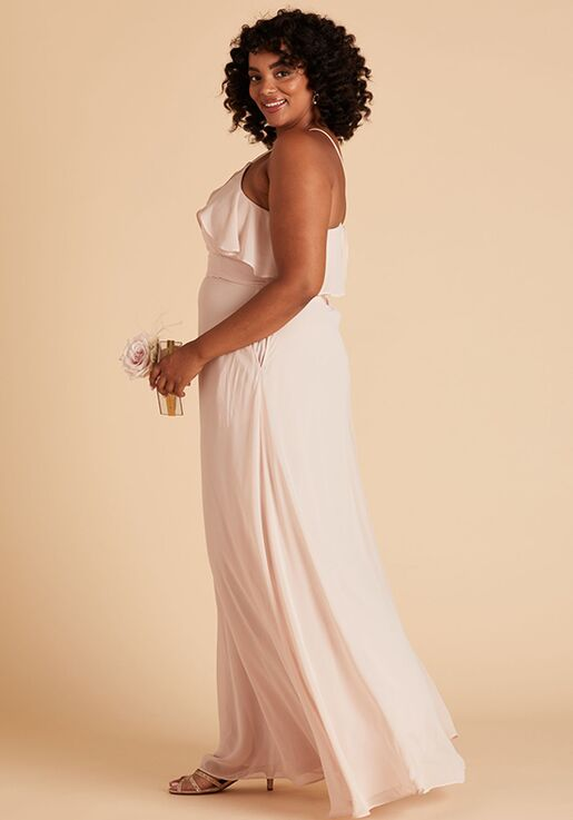 Birdy Grey Jules Curve Dress in Pale Blush Halter Bridesmaid Dress
