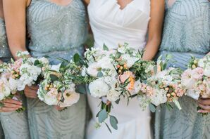 Peach and Green Eucalyptus Bouquets