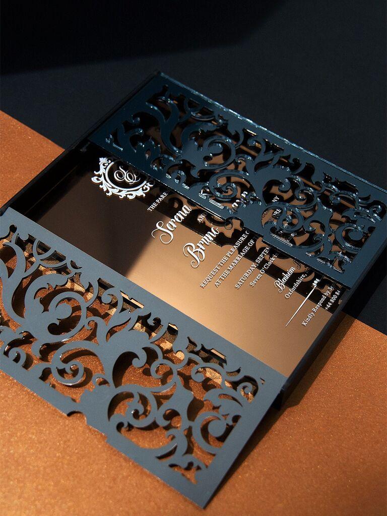 Gray laser-cut vintage design and event details on mirror