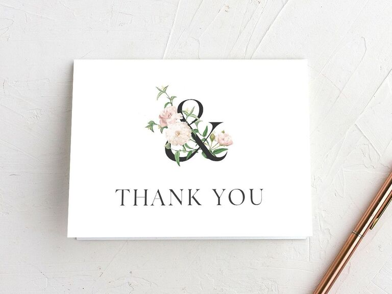 Floral ampersand wedding shower thank-you card