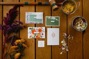 Bright Orange and Green Fall-Themed Invitations