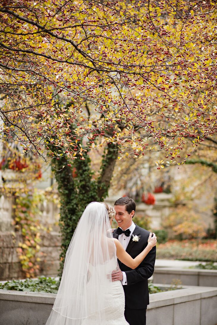 """""""Given that our wedding was in November, we wanted something that was warm and cozy with a slightly vintage feel,"""" the bride says of their reception at The University Club of Chicago."""