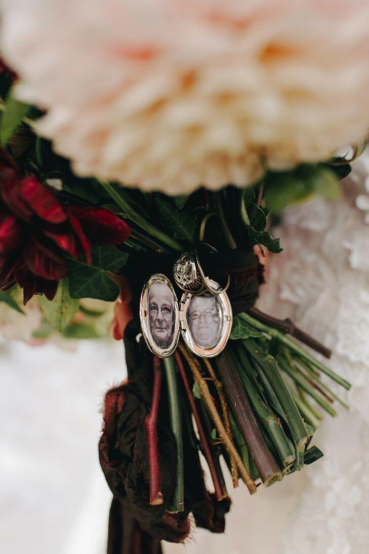 Locket Around Bouquet for Wedding at The Beverly Mansion in Marengo, Ohio