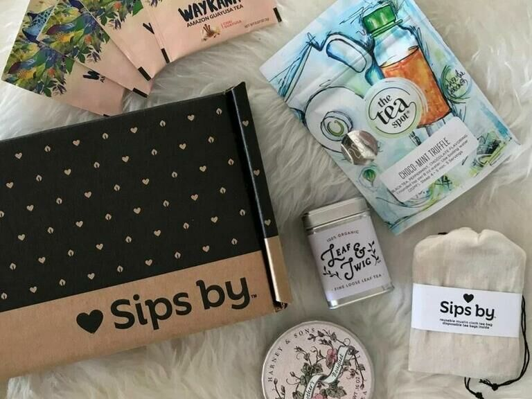 Sips by subscription box with different types of tea-related gifts