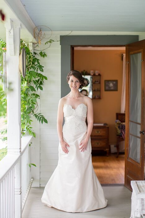 Alyssa wore a lacy fit-and-flare dress with a chic, vintage, feel.