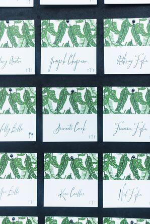 Modern Escort Cards with Leaf Illustrations