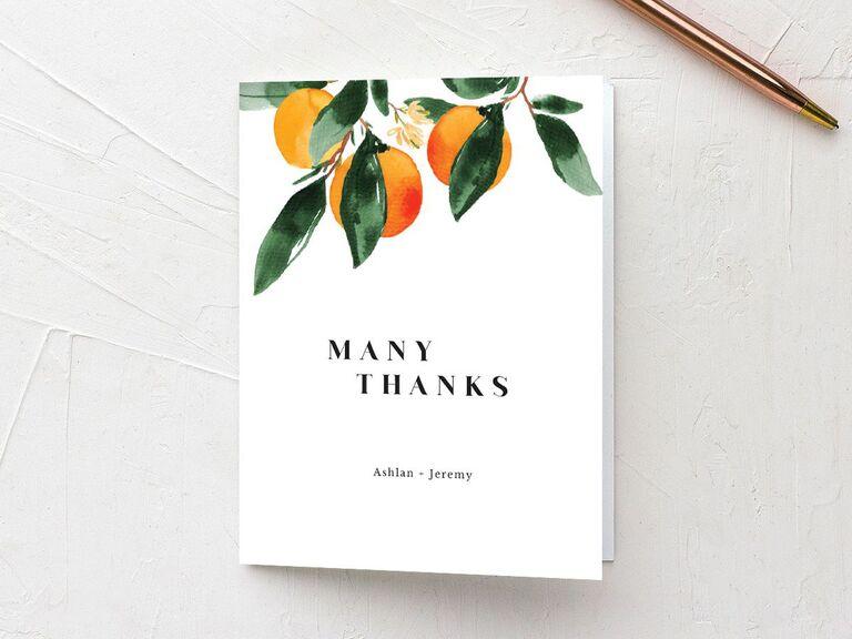 Orange motif Many Thanks wedding shower thank-you card