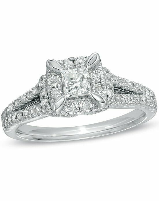 Zales 1 CT T W Princess Cut Split Shank Engagement Ring in 14K White Gold 1
