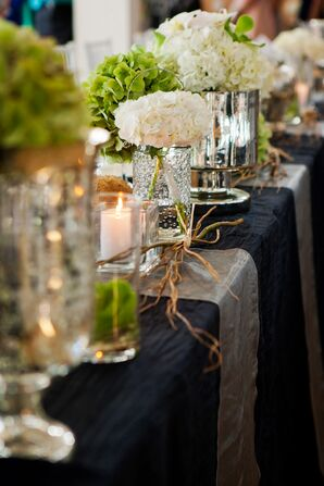 Green and White Hydrangea Centerpieces