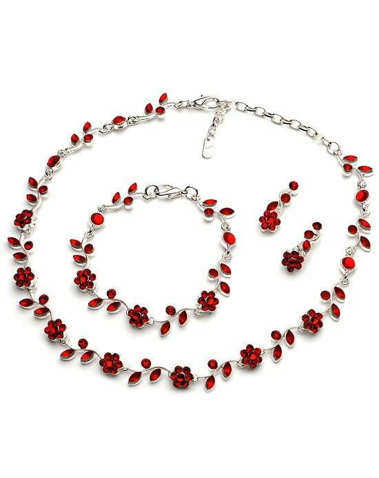 USABride Pretty Floral Red 3-Piece Jewelry Set Wedding Necklaces photo